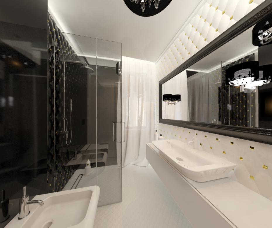 łazienka czarno - biała jankowskadesign