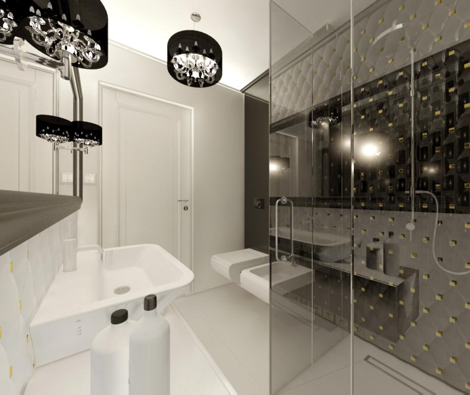 łazienka czarno light - biała jankowskadesign